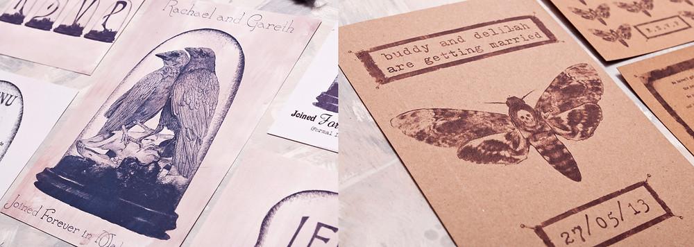 Wedding themes - wedding theme guide - wedding invitations - wedding stationery - taxidermy wedding - moth wedding invitations