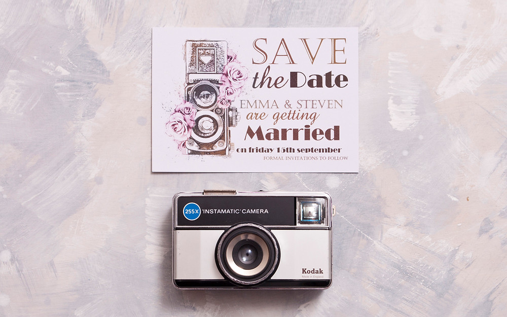 save the date card - camera save the date - vintage save the date