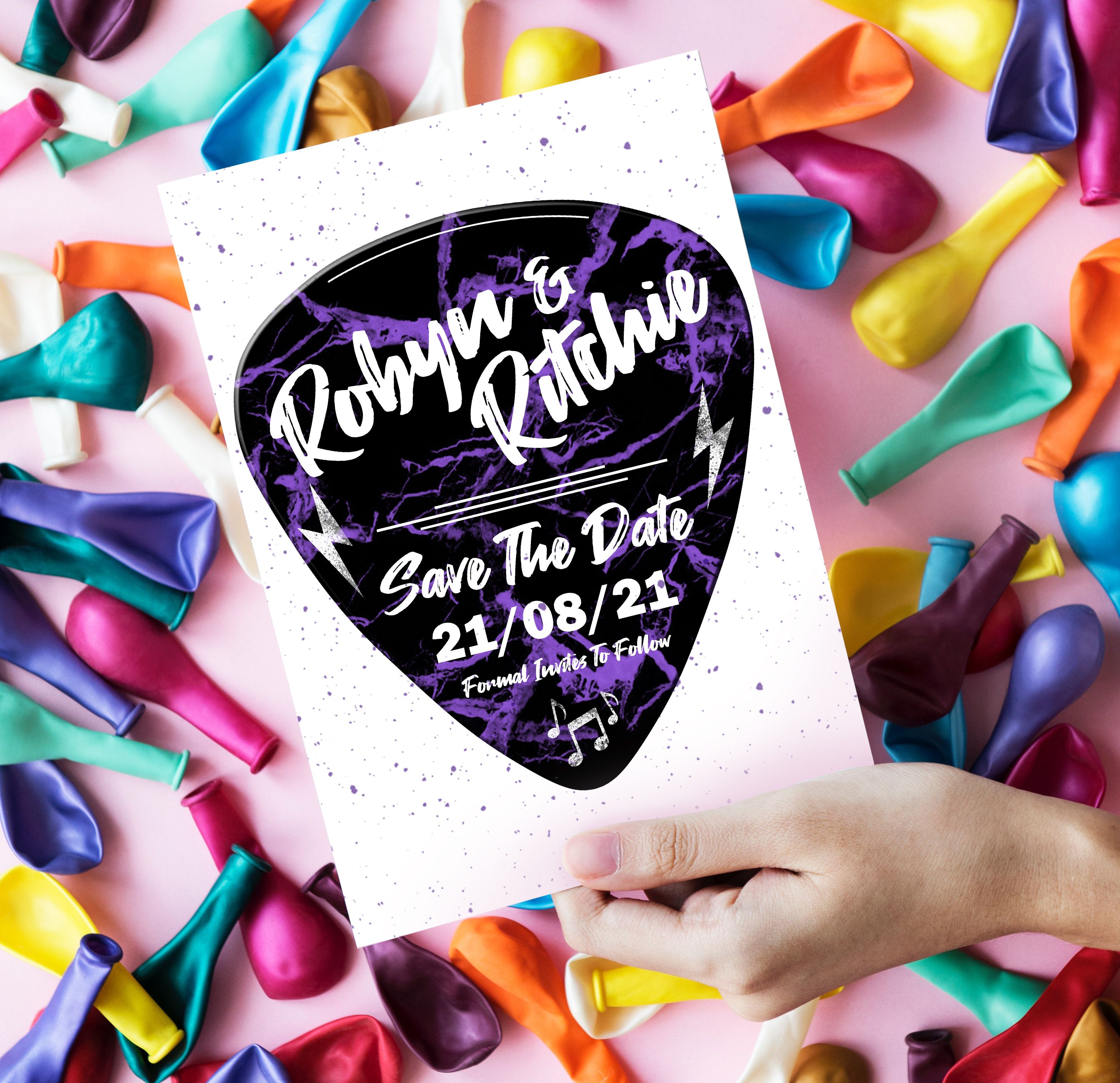 Love Rocks Save The Date in purple