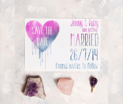 Ombre Heart Save The Date