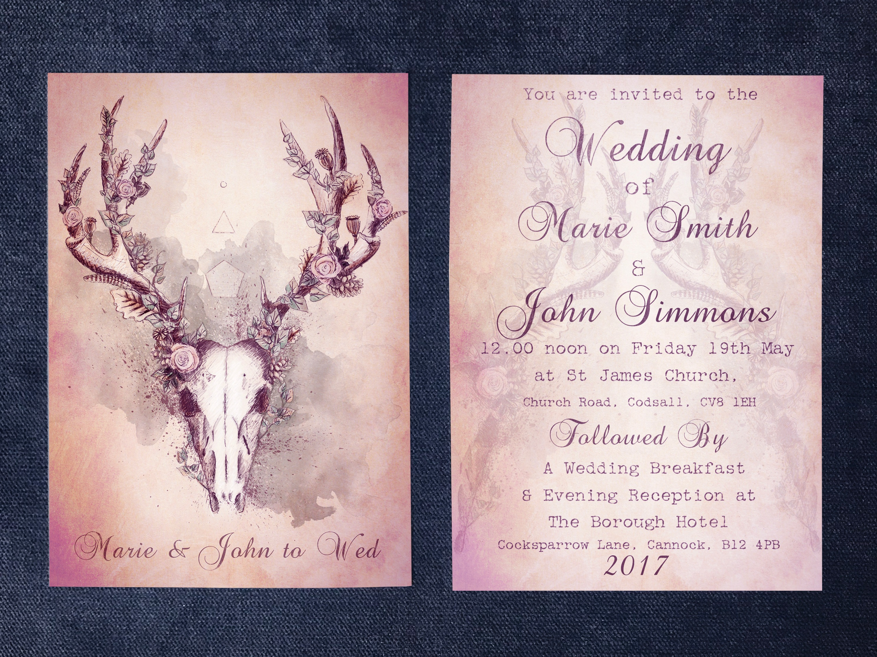 Woodland Stag Invite Front & Back