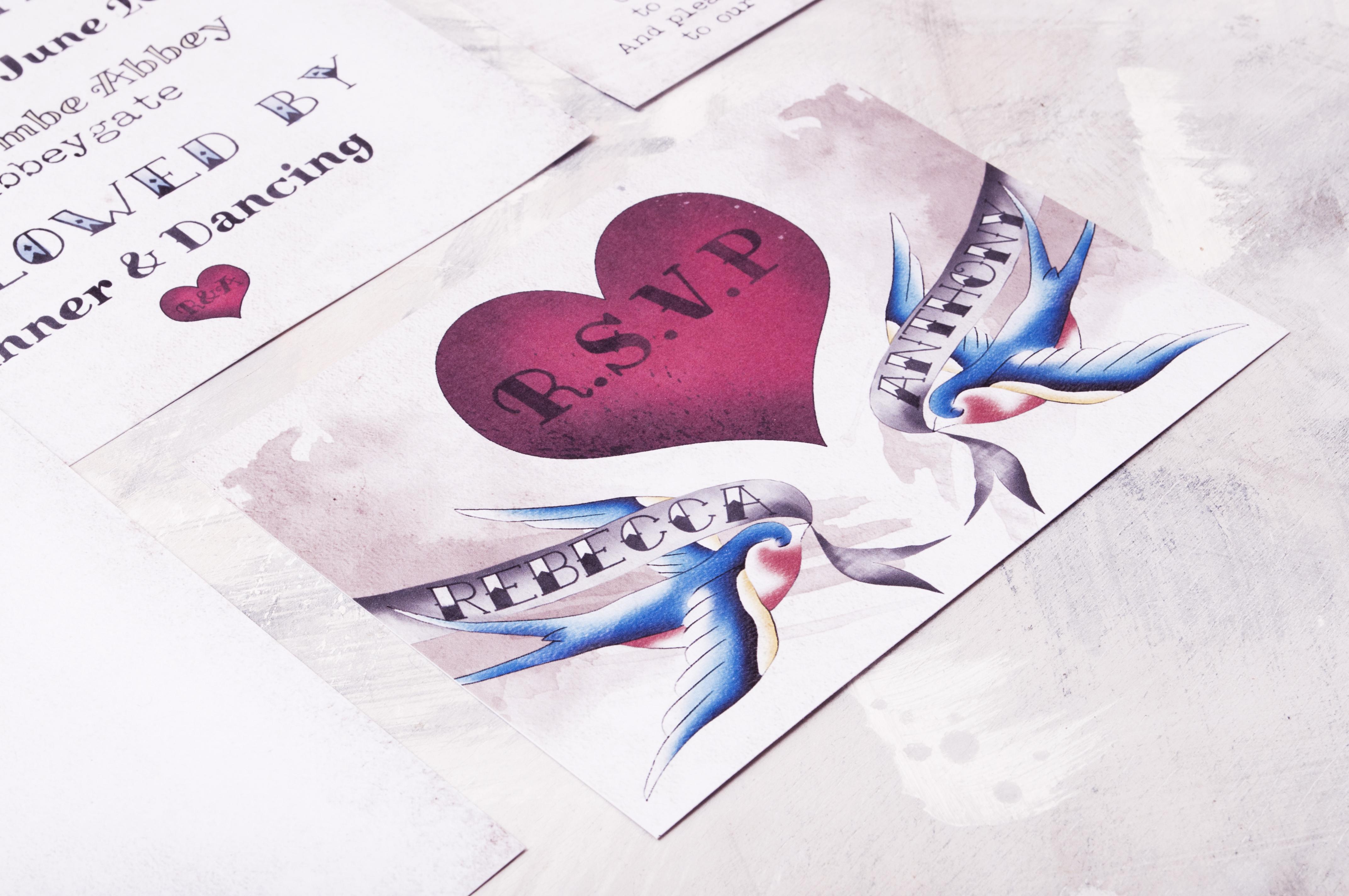 Tattooed Swallow RSVP Postcard