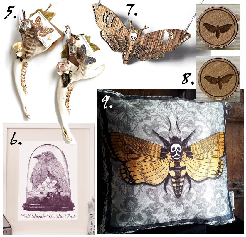 death's head hawk moth, moth neclacke, moth cuff-links, taxidermy, taxidermy print, stoned affection, curiology