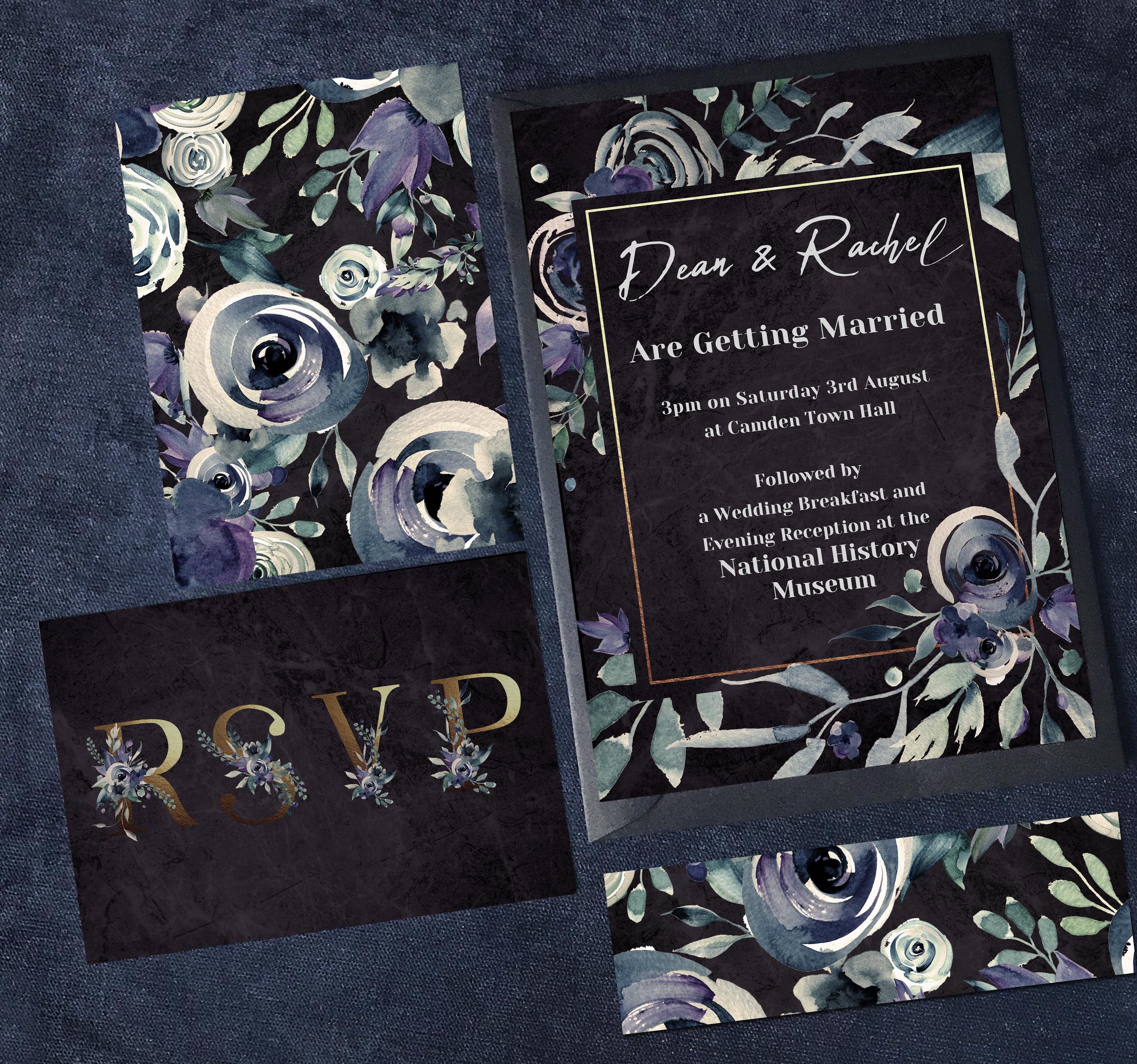Dark Floral Full Invite Suite