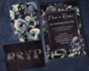 Watercolourroses wedding invitations. Blue, grey and purple flowers with gold accents and initials. Modern wedding stationery.