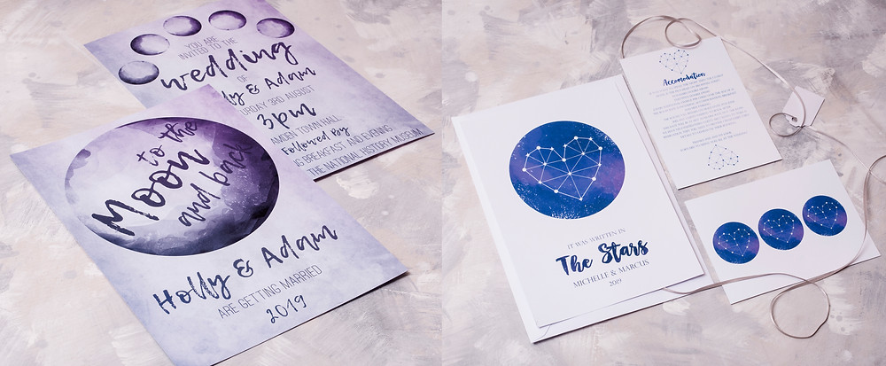 space wedding theme - stars wedding theme - moon wedding theme - moon wedding invitations - stars wedding invitation - to the moon and back - written in the stars - constellation wedding invitations