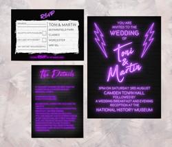Purple Neon Invitations
