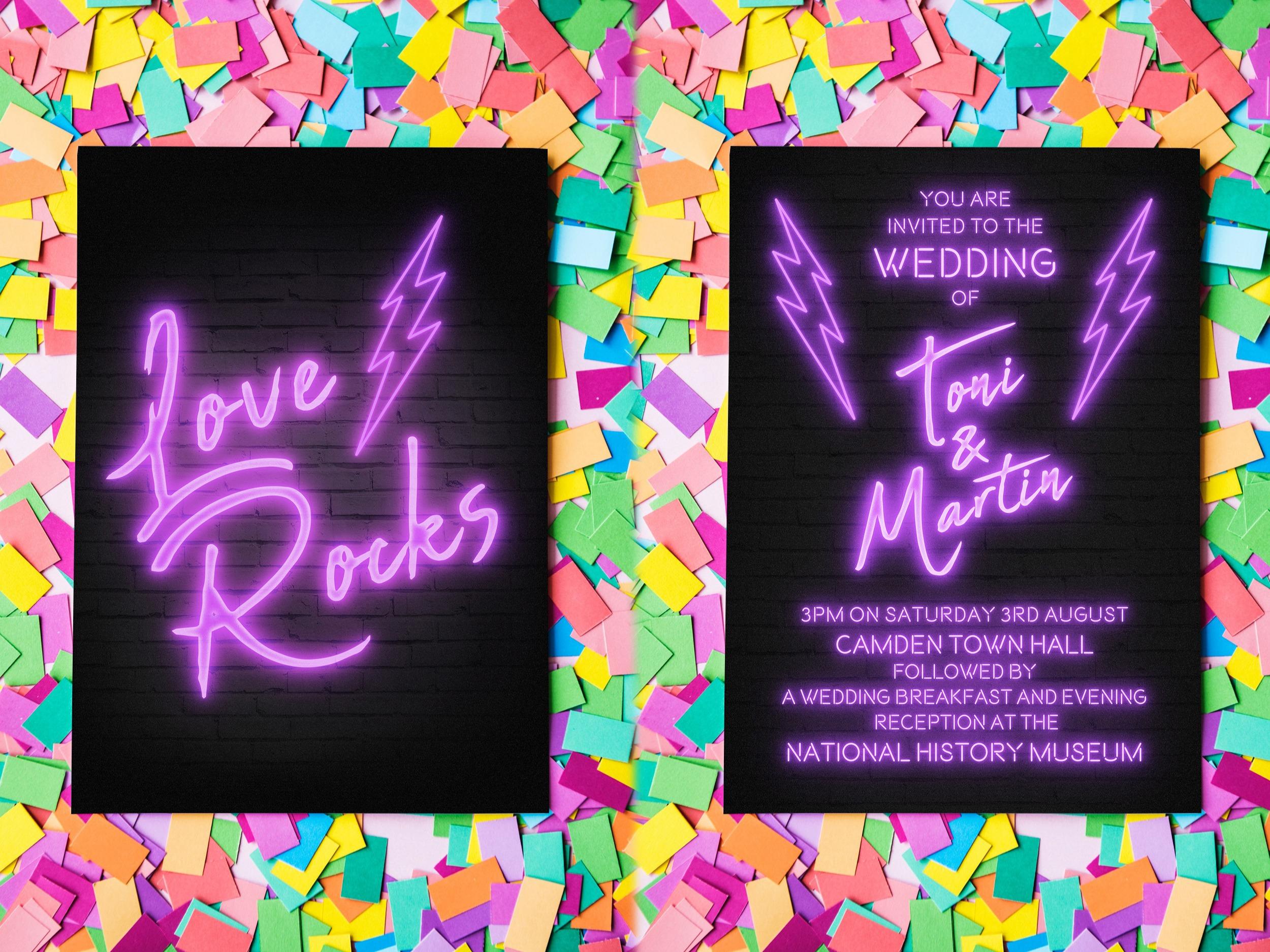 Neon Invite Front & Back
