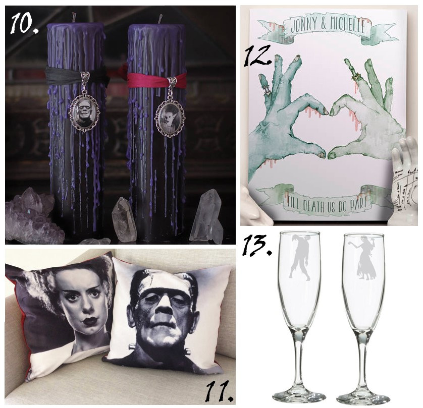 candles, zombie wall art, zombie gifts, Frankenstein bride of Frankenstein, wedding gifts, zombie wedding gifts