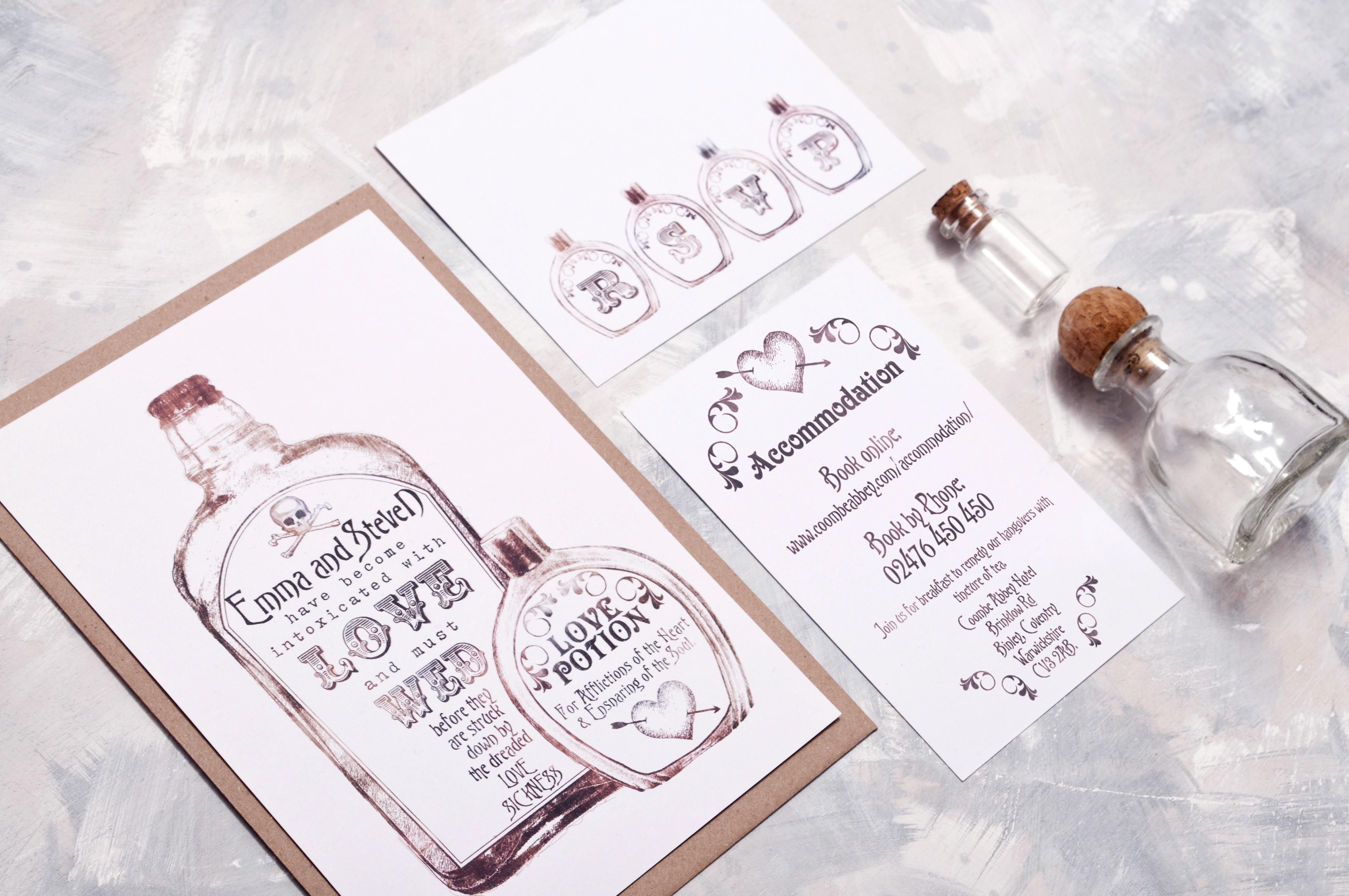 Vintage Bottles Wedding Invitations