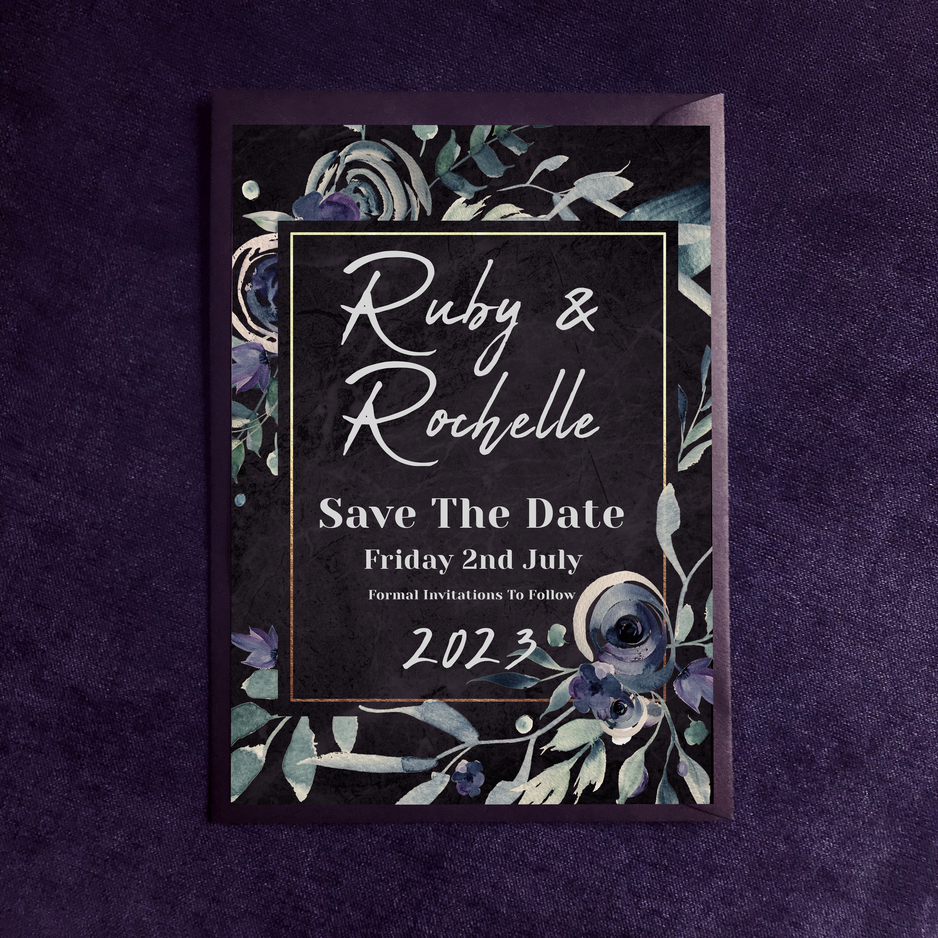 Dark Floral Save The Date