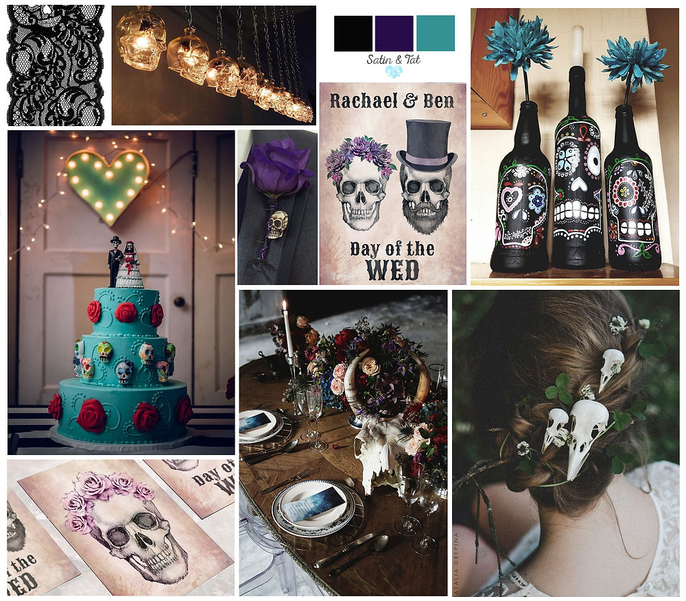 satin and tat - day of the dead wedding - wedding invites - day of the dead