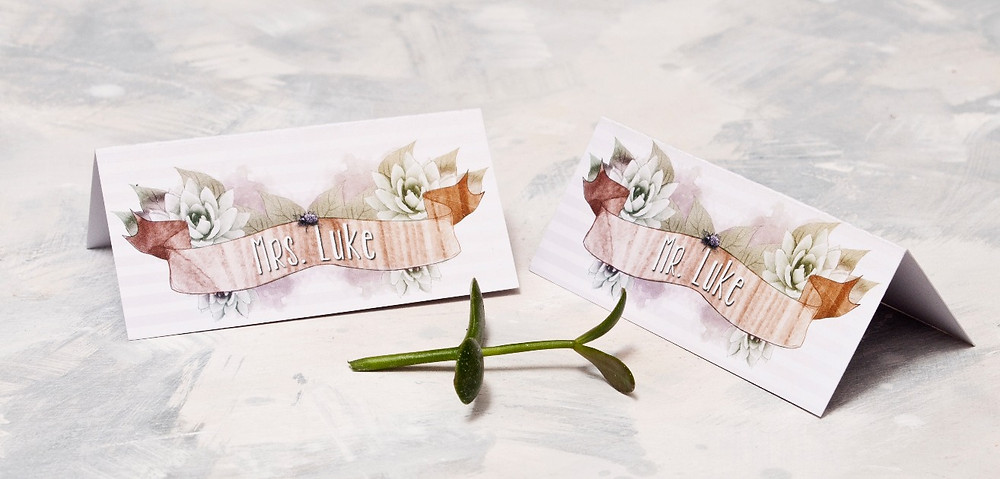 place names, succulent wedding stationery, rustic place names barn wedding
