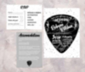 The Love Rocks full invitation suite including a double sided invite, double sided RSVP postcard, an info card and abelly band. Perfect for guitar or music lovers.