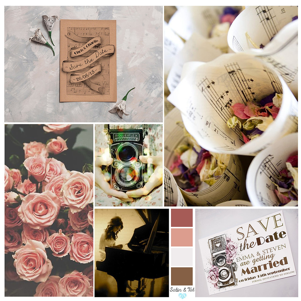 vintage wedding - music themed wedding - save the date cards - vintage wedding flowers - vintage camera - wedding mood board