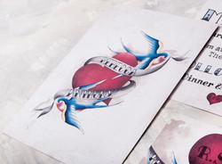Swallow Tattoo Wedding Invitation
