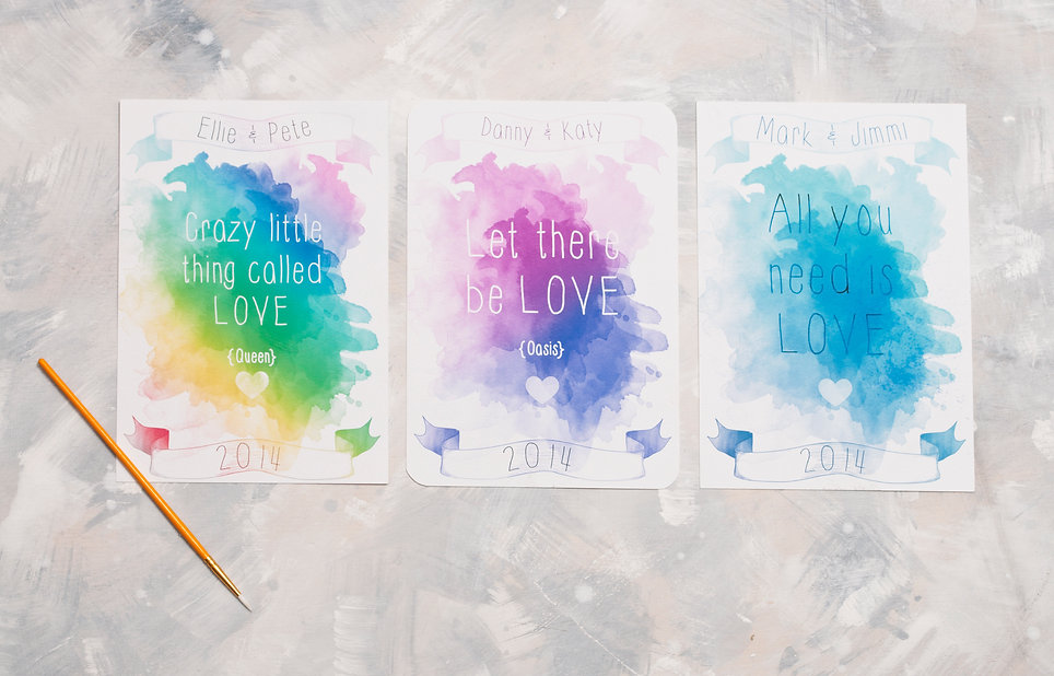 Unique wedding invitations. Watercolour wedding invites with song lyrics. Unique wedding stationery