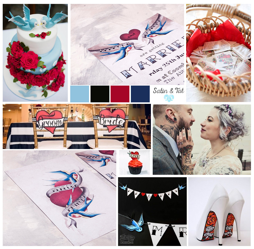 Wedding mood board, red blue black and white, satin and tat, alternative bride, wedding invitations, tattooed bride, tattoo invitations