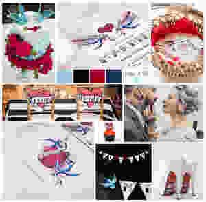 Wedding mood board, red blue black and white, satin and tat, alternative bride, wedding invitations, tattooed bride, tattoo invitations
