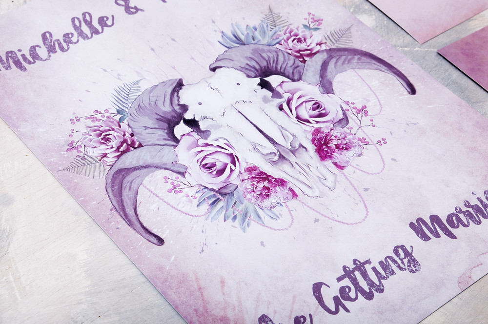 floral wedding invitation, ram skull wedding invitation, alternative wedding, wedding invitations, skull wedding, satin and tat