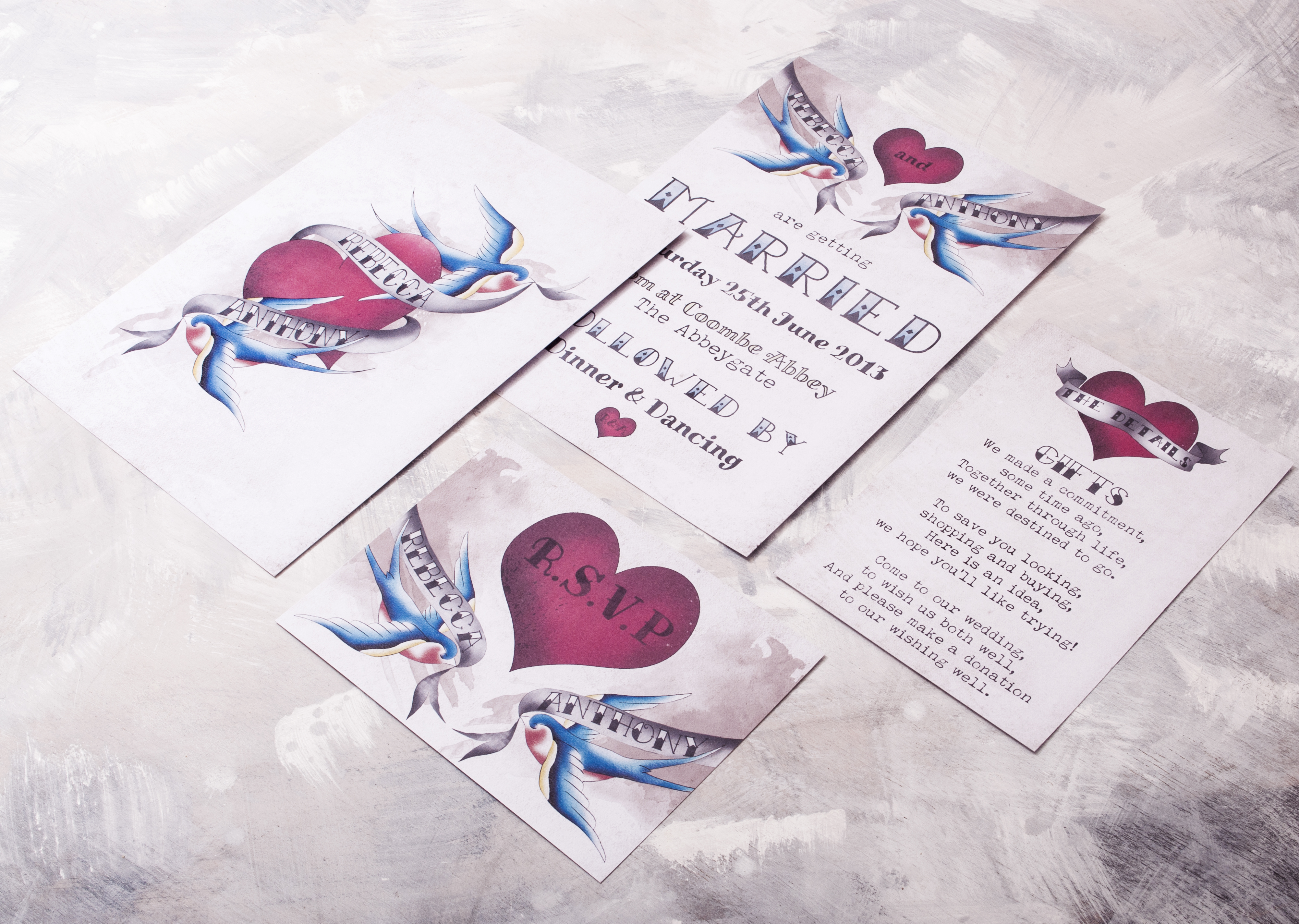 Tattooed Swallow Wedding Stationery
