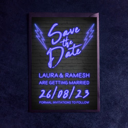 Neon Lights Save The Date - In Blue