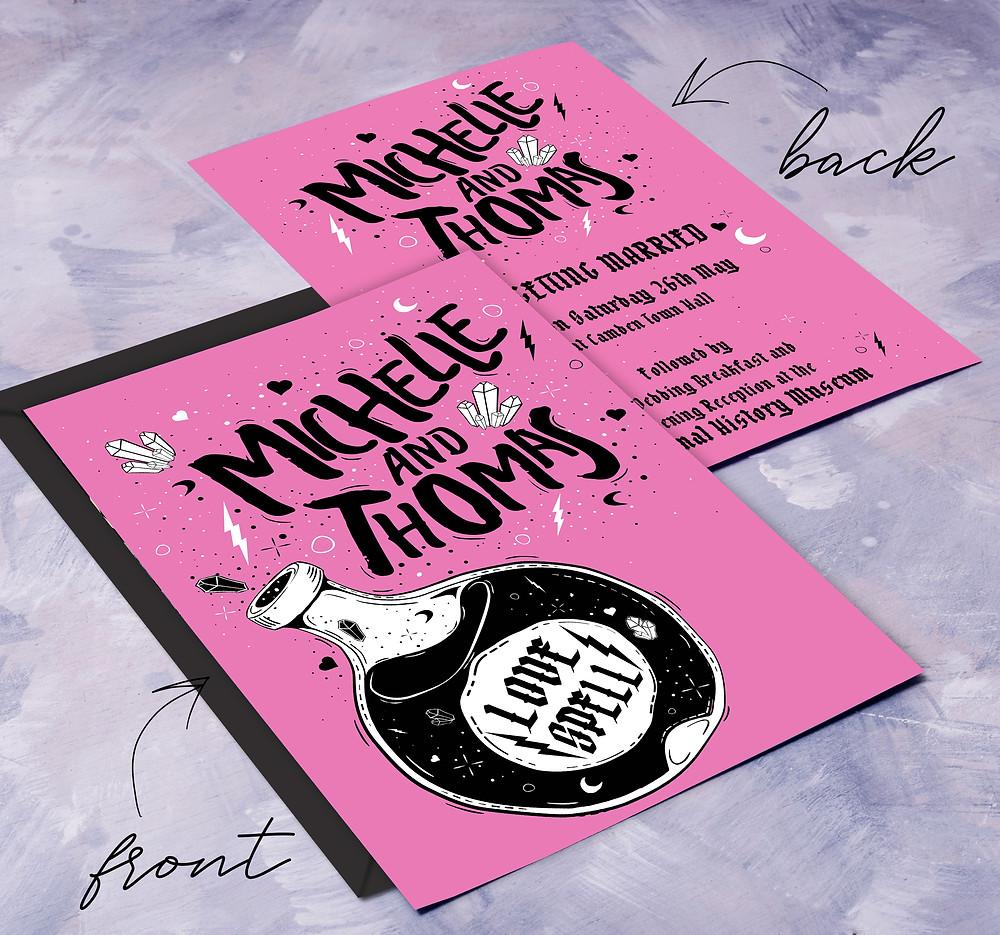 witch wedding invitation, pink gothic wedding invitation