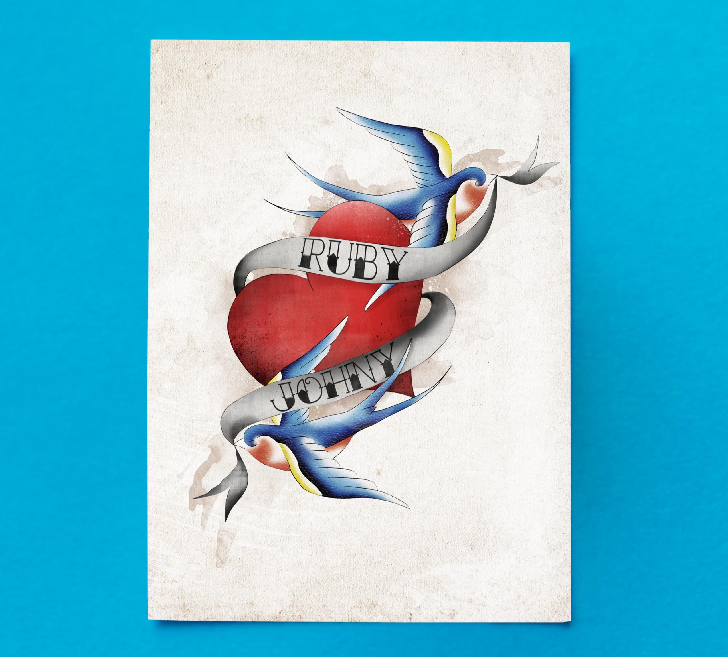 Tattooed Swallow Invitation Front