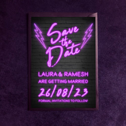 Neon Lights Save The Date - In Pink