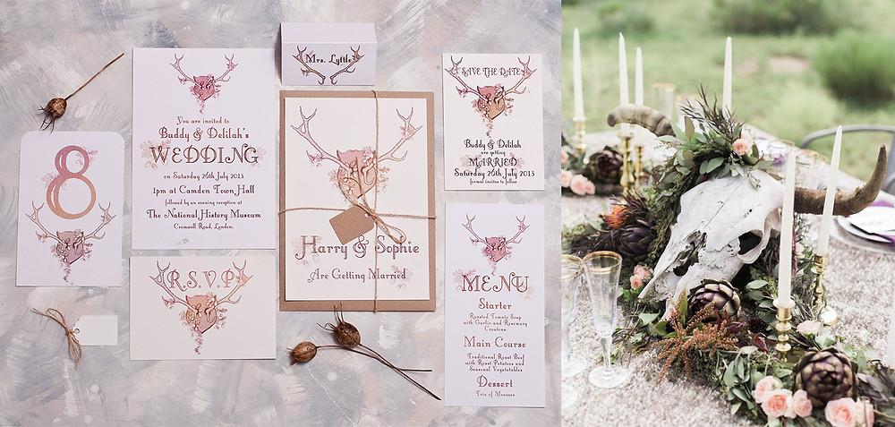 Wedding themes - wedding theme guide - wedding invitations - wedding stationery - antlers - antler wedding invitations