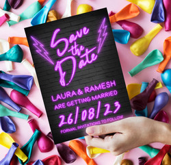 Neon Lights Save The Date