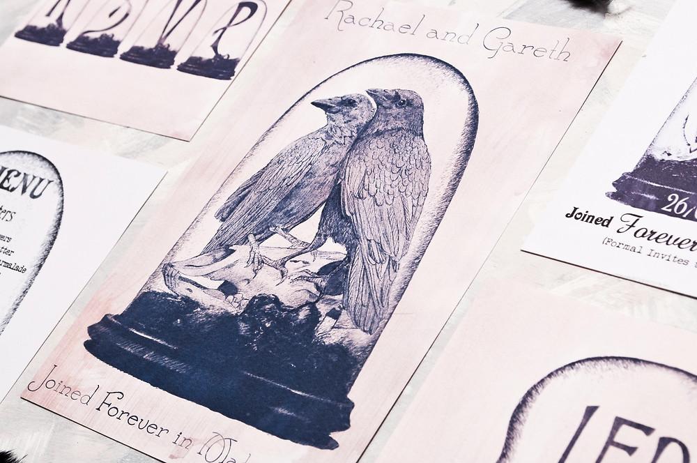 Taxidermy - love birds - ravens - nevermore - Poe - Edgar Allan Poe wedding theme - nevermore wedding invites - wedding invites uk - wedding invitations