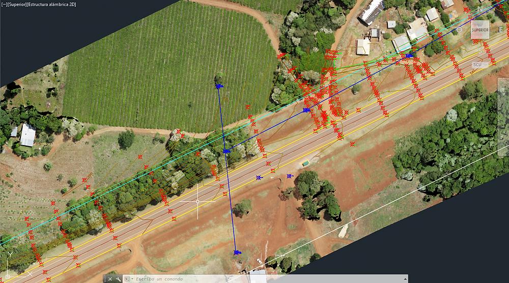 Relevamiento tradicional estación total + antenas GNSS sobre mosaico orto rectificado obtenido con UAV.