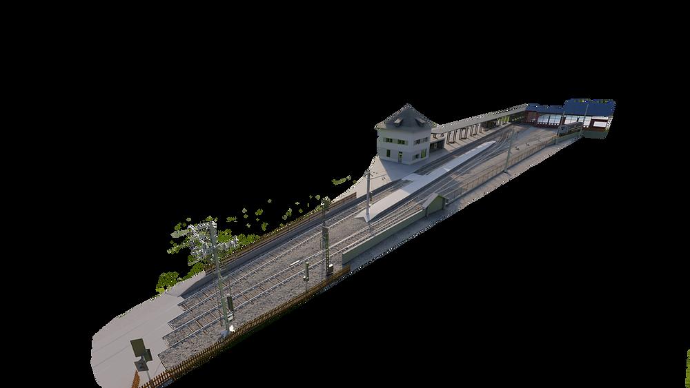 Estación de tren alemana modelada en 3D a partir de nubes de puntos LiDAR y fotografía 360. Modelado realizado con BIM