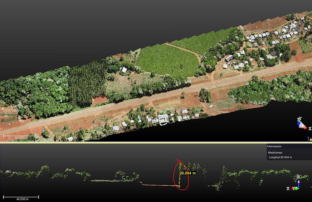 Plano de corte de la nube de puntos donde es posible evaluar la altura de los objetos a lo largo del trayecto.