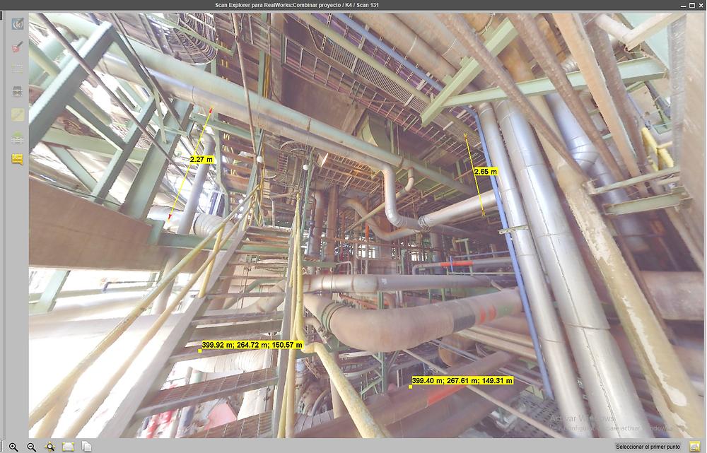 Fotografía 360 tomada con escáner LiDAR Faro Focus 3D X130 para relevamiento de bandejas porta cables en industria.