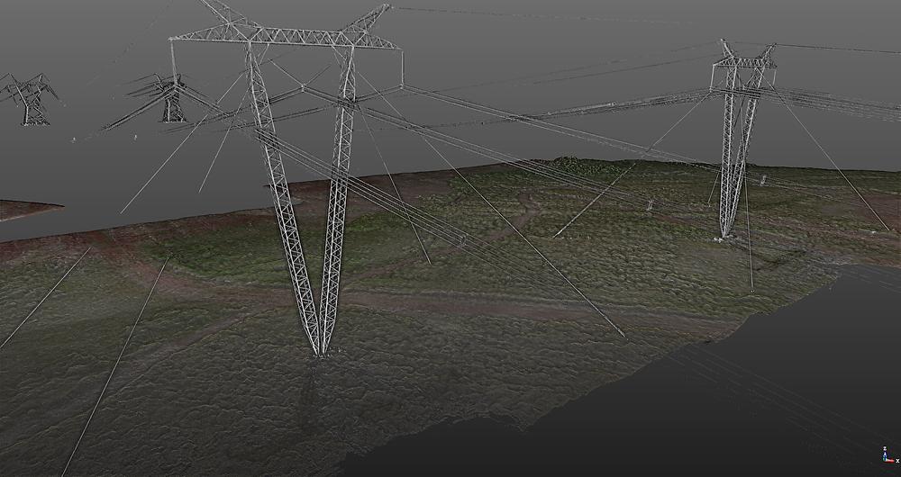 Fusión de la nube de puntos láser de las torres con la nube de puntos fotogramétricas de la topografía del terreno