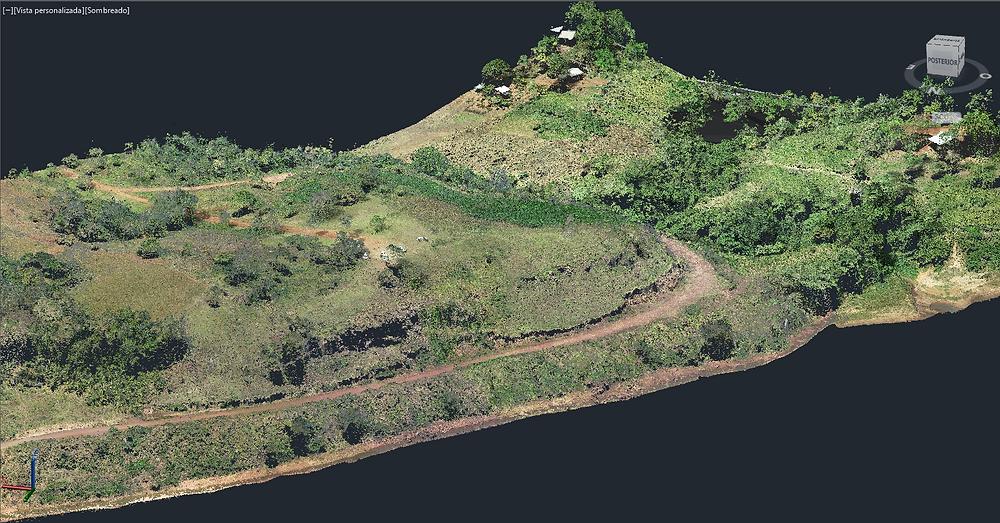 Nube de puntos 3D en color real de la costa sobre el Río Paraná donde se diseñará una costanera. Municipio Puerto Piray, Misiones, Argentina.