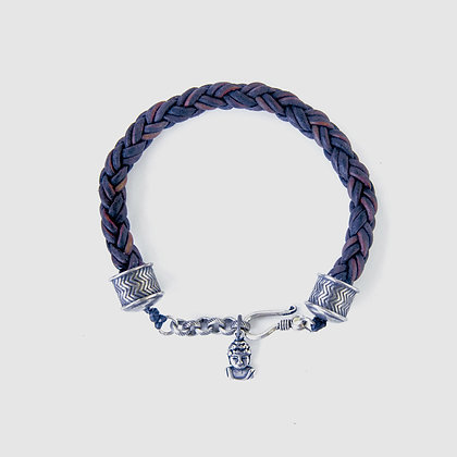 Mens Leather braided bracelet with Buddha