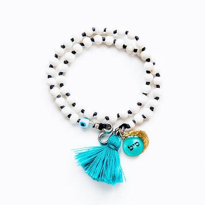 Double Wrap White Bone Bracelet + Charms