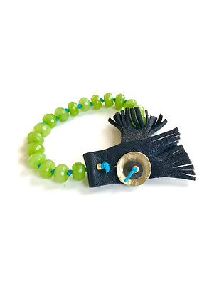 Stabilized jade and leather bracelet