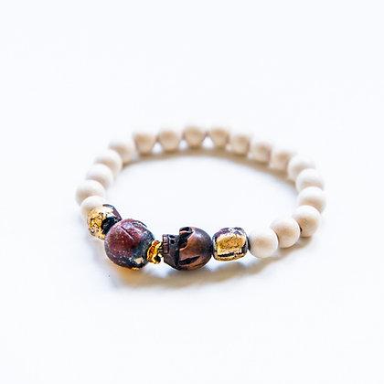 White Yak bone and Gold Leaf Prayer Beads Bracelet