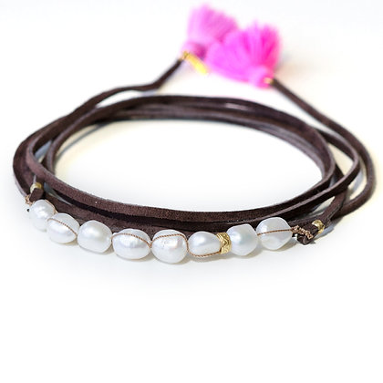 8 Large white Pearl and leather Multi wrap