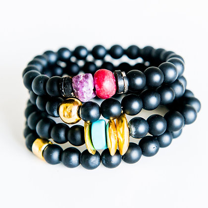 4 Stack Mixed Onyx and semi precious Bracelets