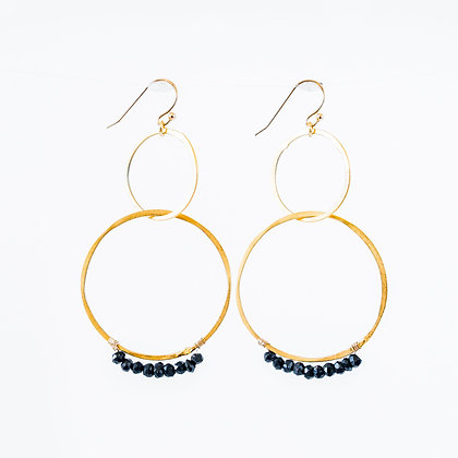 Stone wrapped earrings on Gold hoop