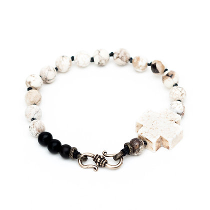 White Cross Men's Bracelet