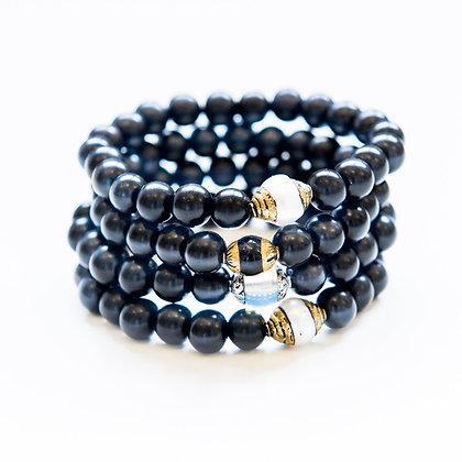4 Stack Mixed Onyx and semi precious Bracelets
