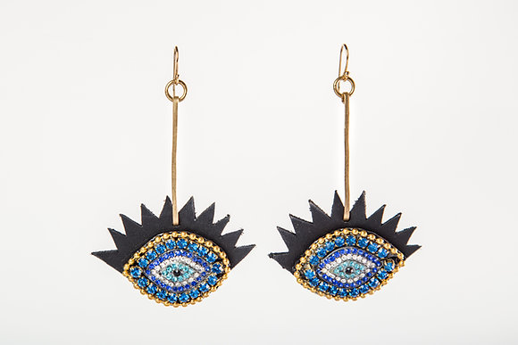 EvilEye Crystal on Leather Earring