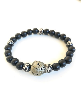 Ebony wood and bone mala Bracelet