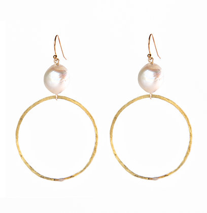 Hammered Hoops and Pearl
